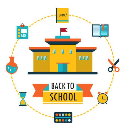 school background: Back to school background with study theme icons Vector illustration