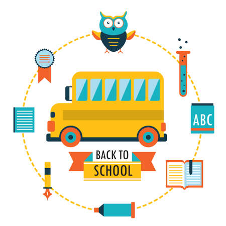 Back to school background with study theme icons School bus Vector illustration Vector