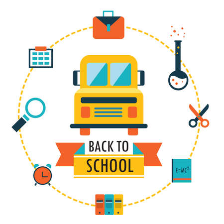 Back to school background with study theme icons Vector illustration Vector