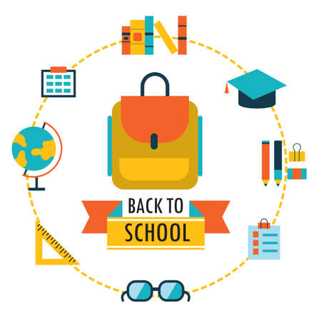 Back to school background with study theme icons Backpack glasses books etc Vector illustration Vector