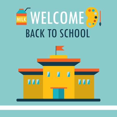 Welcome back to school background Design template in flat style Vector illustration Vector