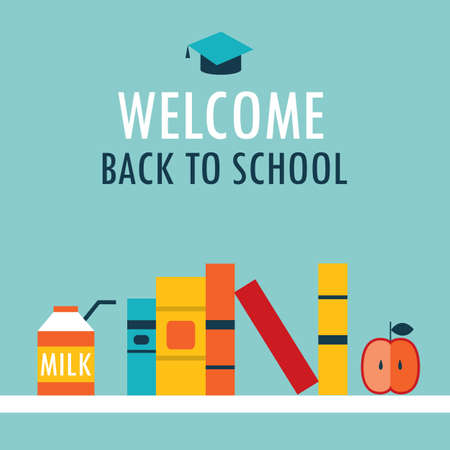 Welcome back to school background Book shelf with books milk and apple Vector illustration