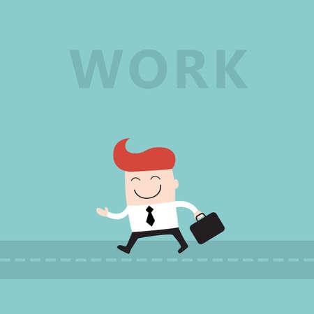 Happy businessman go to work lovely cartoon character vector illustration 矢量图像
