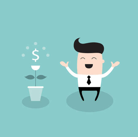 Happy businessman with dollar plant Growing money tree successful business concept Vector illustration Illustration
