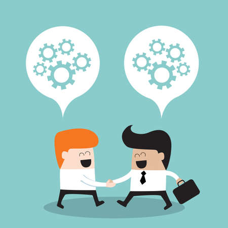 greet: Business people shaking hands and thinking about their partnership Successful business concept Vector illustration