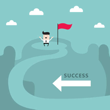 Businessman on the top of the mountain Success goal achievement business concept Vector illustration Vector