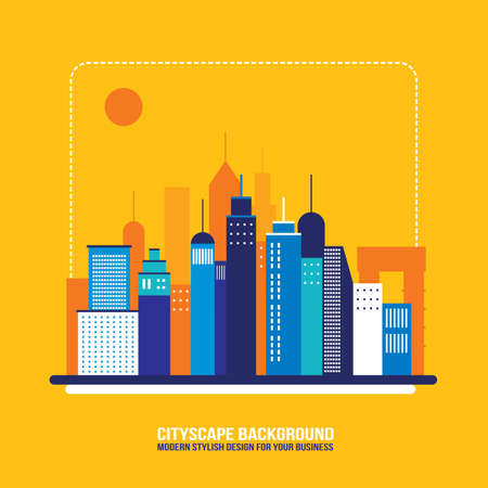modern residential building: Cityscape background City building silhouettes Modern flat design style Vector illustration Illustration
