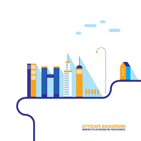 Cityscape background City building silhouettes Modern flat design style Vector illustration Vector