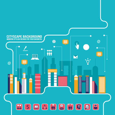 City social network Urban landscape filled with business icons communication concept City infographic elements Modern flat design style Vector illustration