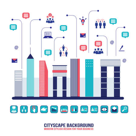 City social network Urban landscape filled with business icons communication concept City infographic elements Modern flat design style Vector illustration Vector