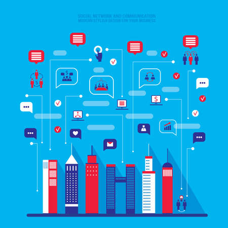 City social network. Urban landscape filled with business icons, communication concept. City infographic elements Modern flat design style Vector illustration Vector