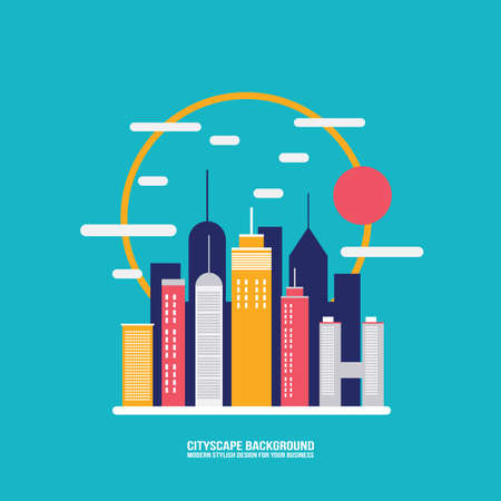 modern office: Cityscape background City building silhouettes Modern flat design style Vector illustration Illustration