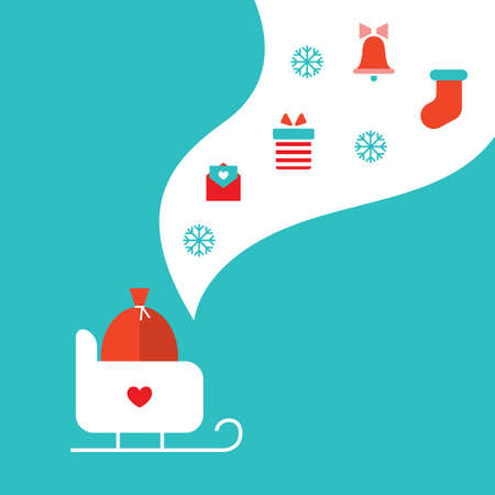 blue santa: Merry Christmas and Happy New Year greeting card Vector illustration