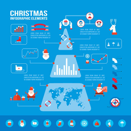 Christmas infographic elements for your business Modern flat design style Vector illustration