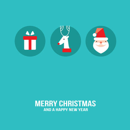 Merry Christmas and Happy New Year greeting card design template