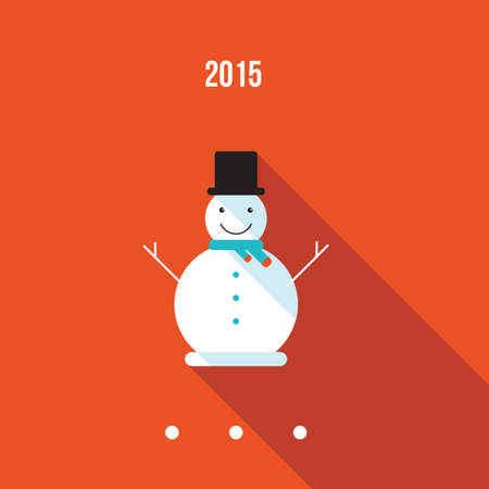 snowman hat: Cute snowman Merry Christmas and Happy New Year greeting card template