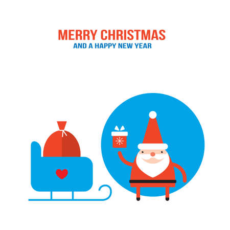 toboggan: Cute Santa Claus with presents gift bag and sleigh New year and Christmas design template Illustration