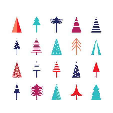Christmas tree icon set for web Happy New Year