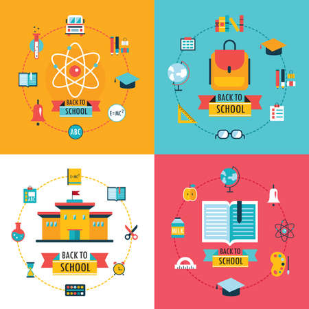 learning icon: Welcome back to school Education concept banner set Flat Design