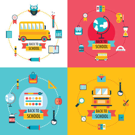 Welcome back to school Education concept banner set Flat Design