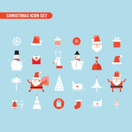 santa claus hats: Christmas and New Year icon set Holiday Santa Claus Snowman Illustration