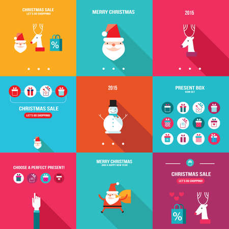 shopping bag icon: Merry Christmas Happy New Year Holiday banner set Flat design