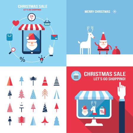 seasonal: Christmas New Year banner set Santa Claus shopping seasonal sale