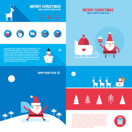 santa claus background: Christmas New Year banner set Santa Claus presents gifts Illustration