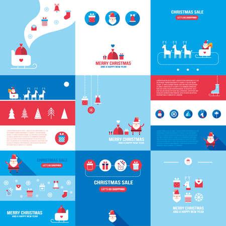 santa clos: Navidad A�o Nuevo Conjunto de la bandera de Santa Claus compras venta estacional Vectores