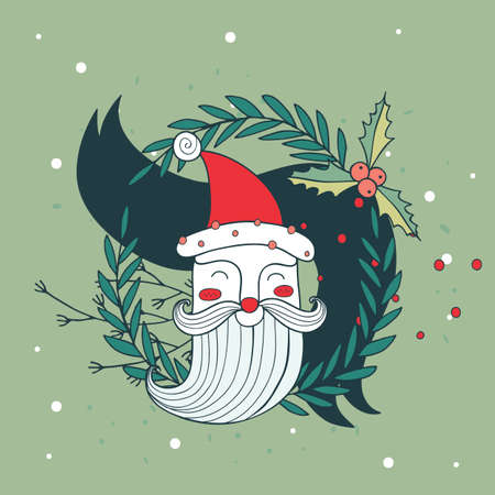 greeting card background: Merry Christmas Happy New Year Santa Claus greeting card background Vector illustration