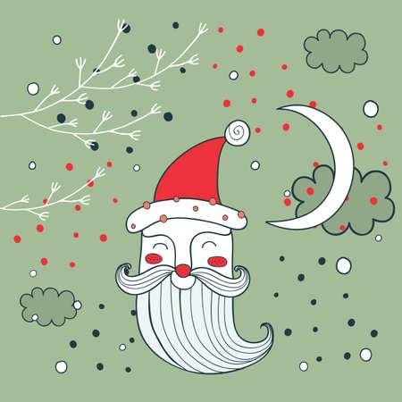 papa noel: Feliz Feliz Navidad Año Nuevo Santa Claus tarjeta de felicitación de fondo ilustración vectorial