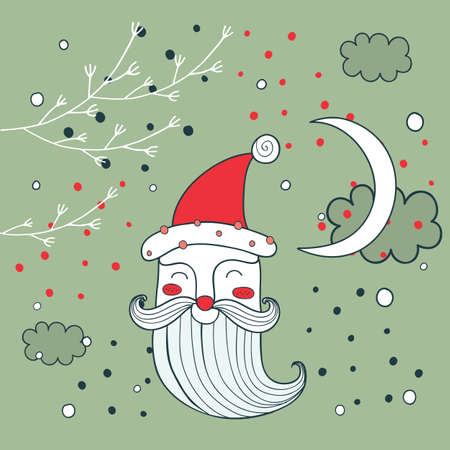 santa claus hats: Merry Christmas Happy New Year Santa Claus greeting card background Vector illustration
