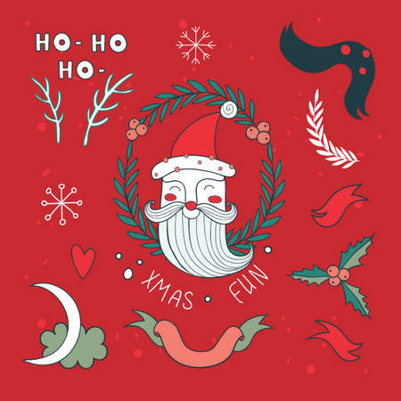 santa claus hats: Christmas hand drawn design elements set with Santa Claus Vector illustration