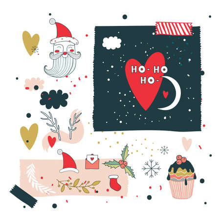 doodle: Christmas and New Year design elements set Santa Claus Vector illustration Illustration