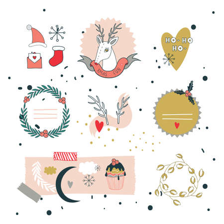 merry mood: Christmas and New Year hand drawn design elements set  Vector illustration