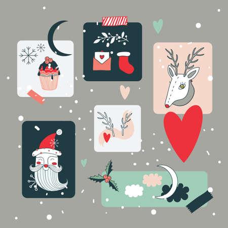christmas icon: Christmas and New Year Holidays design elements set Vector illustration Illustration