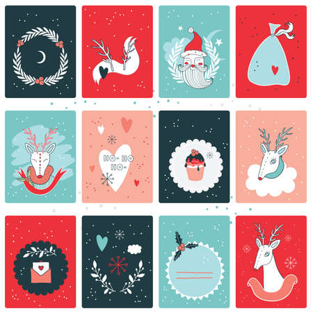love: Christmas New Year card collection design template Vector illustration Illustration