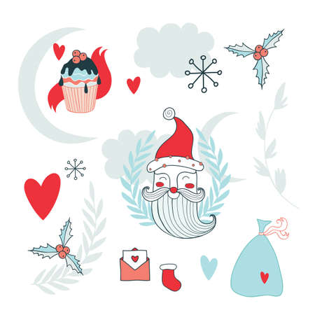 floral decoration: Christmas hand drawn design elements set with Santa Claus Vector illustration