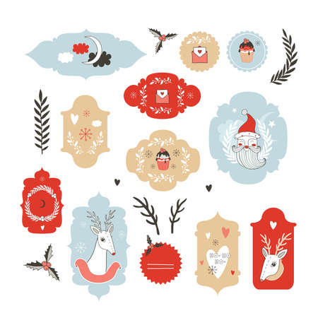 Collection of Christmas New Year Labels Hand drawn cute style Vector illustration Illustration