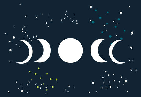 lunar phases: Lunar eclipse Moon phases circle with stars space background Vector illustration