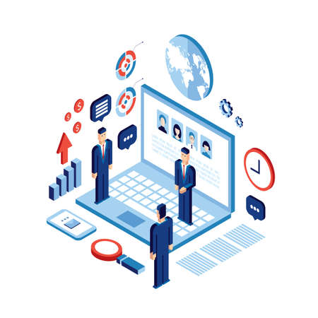 achiever: Businessman isometric people Successful business Social network communication Technology concept Illustration