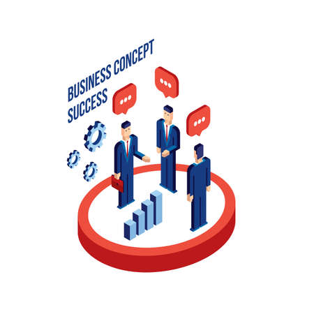 achiever: Group of businessman people isometric Successful business Partnership concept