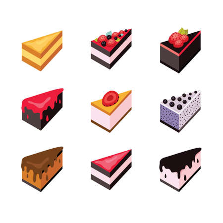 blueberry cheesecake: Cake set Isometric flat design web icon collection Delicious dessert Vector illustration