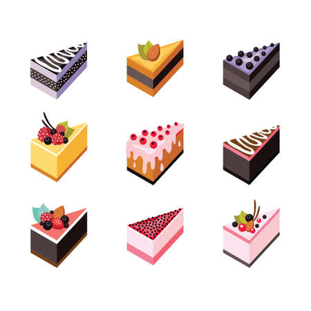 blueberry pie: Cake set Isometric flat design web icon collection Delicious dessert Vector illustration