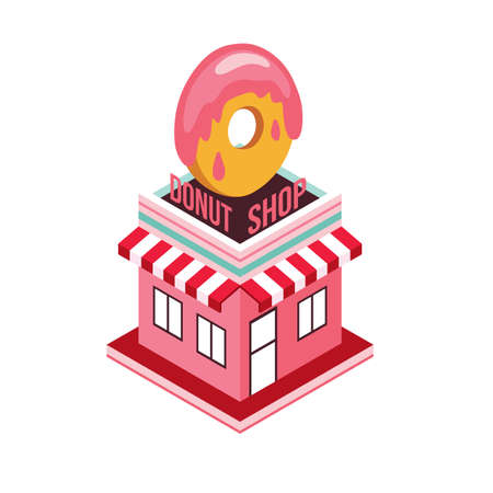 donut style: Donut shop Modern isometric flat design style Food shopping industry Vector illustration Illustration
