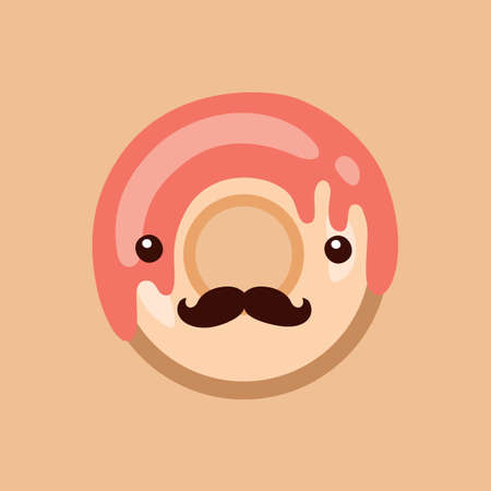 donut style: Hipster donut Delicious sweet dessert Modern cute flat design style Vector illustration Illustration