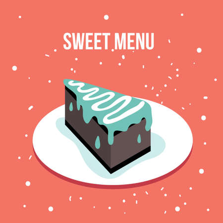porcion de pastel: Delicioso plato de postre dulce de la torta del estilo moderno diseño plano lindo ilustración vectorial Vectores