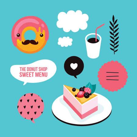 cheesecake: Sweet menu Food Delicious dessert Berry cheesecake donut coffee set Vector illustration Illustration