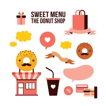 food shop: Sweet menu Delicious dessert Donut shop Food design element set  Vector illustration Illustration