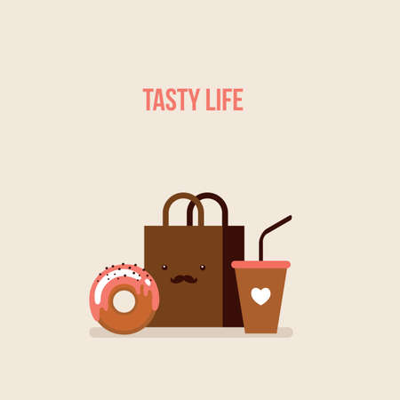 coffee to go: Delicious donut Coffee Shopping bag Online food order flat design Vector illustration